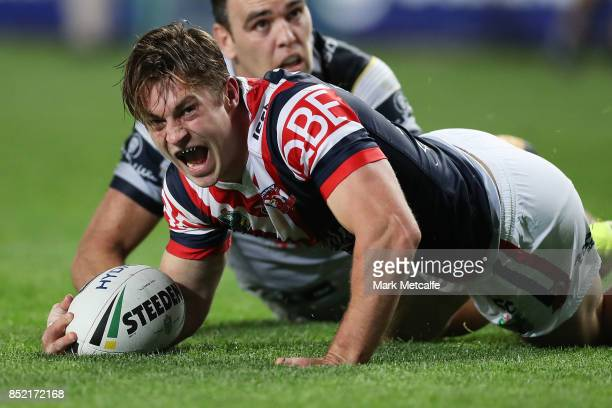 Connor Watson of the Roosters celebrates scoring a try during the NRL Preliminary Final match between the Sydney Roosters and the North Queensland...