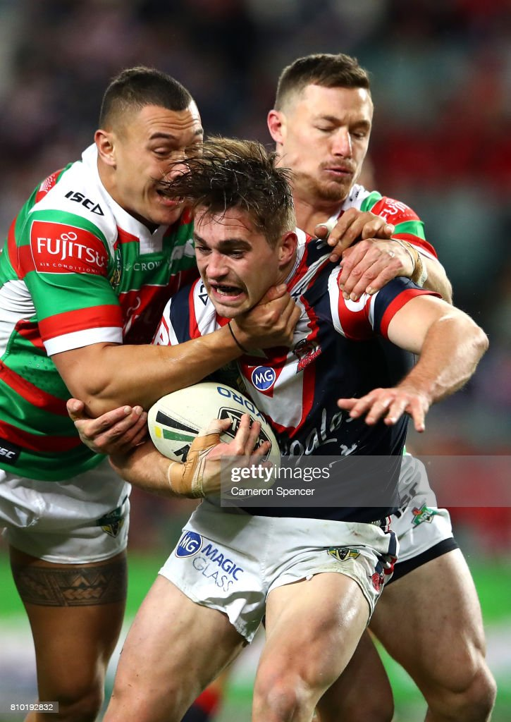 Connor Watson of the Roosters is tackled during the round 18 NRL match between the Sydney Roosters and the South Sydney Rabbitohs at Allianz Stadium on July 7, 2017 in Sydney, Australia.