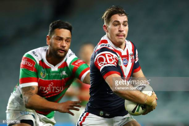 Connor Watson of the Roosters runs the ball during the round 18 NRL match between the Sydney Roosters and the South Sydney Rabbitohs at Allianz...