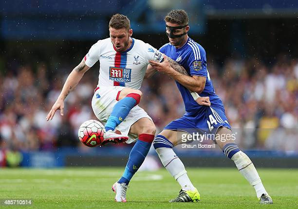 Connor Wickham of Crystal Palace and Gary Cahill of Chelsea in action during the Barclays Premier League match between Chelsea and Crystal Palace on...