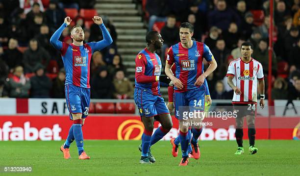 Connor Wickham of Crystal Palace celebrates after scoring his sides first goal during the Barclays Premier League match between Sunderland and...