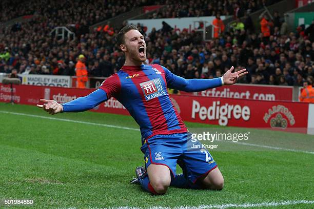 Connor Wickham of Crystal Palace celebrates scoring his team's first goal during the Barclays Premier League match between Stoke City and Crystal...