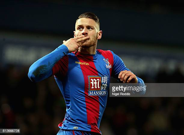 Connor Wickham of Crystal Palace celebrates scoring his team's first goal during the Barclays Premier League match between West Bromwich Albion and...