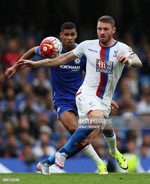 Connor Wickham of Crystal Palace holds off Ruben LoftusCheek of Chelsea during the Barclays Premier League match between Chelsea and Crystal Palace...