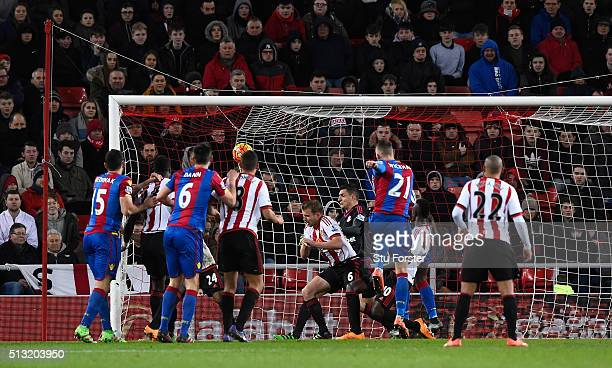 Connor Wickham of Crystal Palace scores his team's second goal during the Barclays Premier League match between Sunderland and Crystal Palace at...