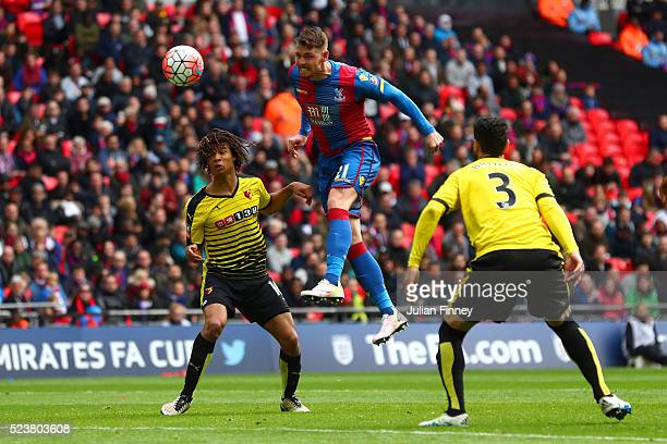 Connor Wickham of Crystal Palace scores their second goal with a header during The Emirates FA Cup semi final match between Watford and Crystal...