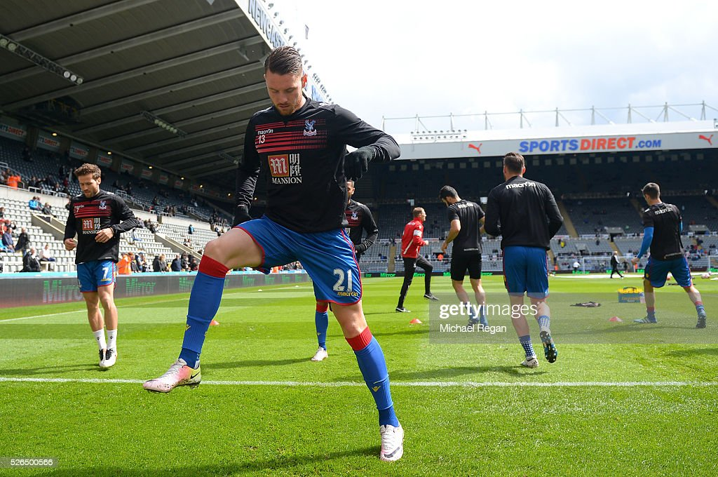 Connor Wickham of Crystal Palace warms up prior to the Barclays Premier League match between Newcastle United and Crystal Palace at St James' Park on April 30, 2016 in Newcastle upon Tyne, England.