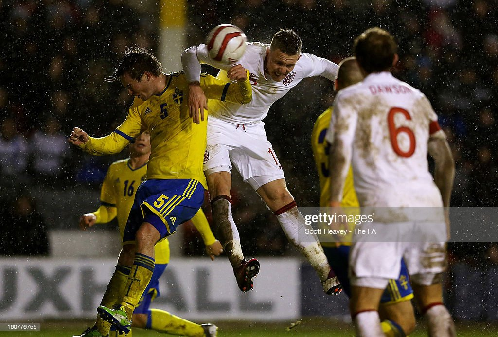 Connor Wickham of England scores their fourth goal during the International Match between England Under 21's and Sweden Under 21's at Banks' Stadium on February 5, 2013 in Walsall, England.