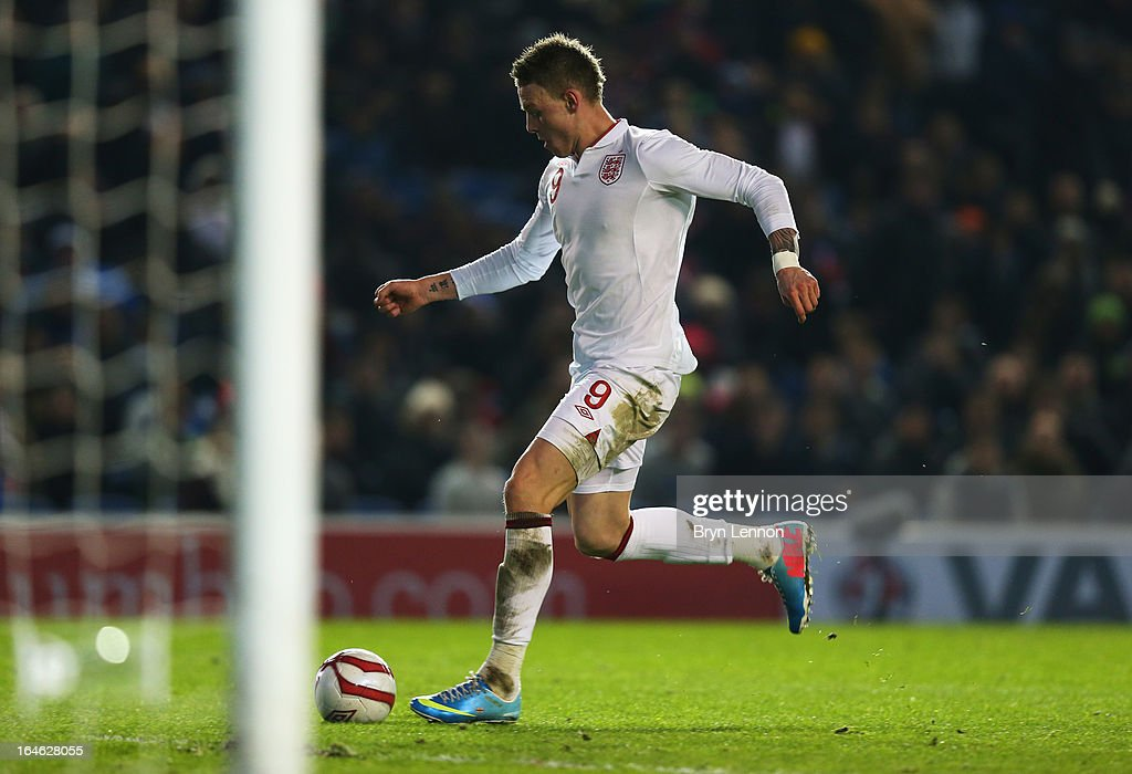 Connor Wickham of England scores their fourth goal during the International friendly match between England U21 and Austria U21 at Amex Stadium on March 25, 2013 in Brighton, England.