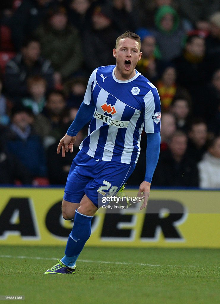 <a gi-track='captionPersonalityLinkClicked' href=/galleries/search?phrase=Connor+Wickham&family=editorial&specificpeople=6148574 ng-click='$event.stopPropagation()'>Connor Wickham</a> of Sheffield Wedneday celebrates after scoring the opening goal from a free-kick during the Sky Bet Championship match between Watford and Sheffield Wednesday at Vicarage Road on December 14, 2013 in Watford, England,