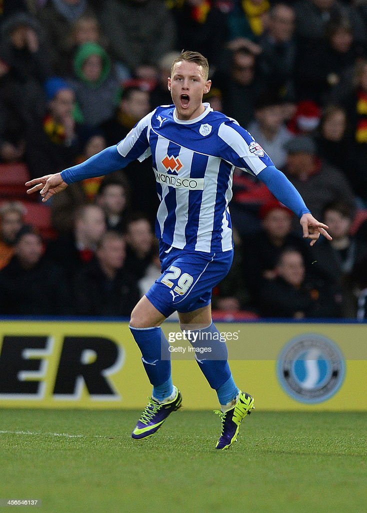 <a gi-track='captionPersonalityLinkClicked' href=/galleries/search?phrase=Connor+Wickham&family=editorial&specificpeople=6148574 ng-click='$event.stopPropagation()'>Connor Wickham</a> of Sheffield Wedneday celebrates after scoring the openiing goal from a free-kick during the Sky Bet Championship match between Watford and Sheffield Wednesday at Vicarage Road on December 14, 2013 in Watford, England,