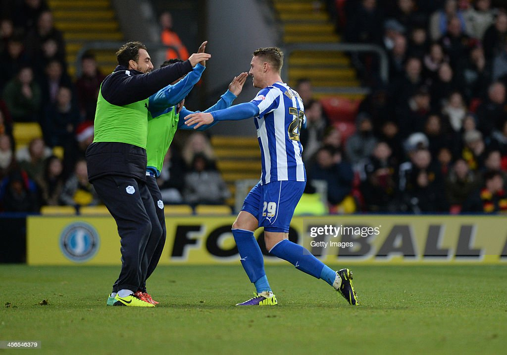 <a gi-track='captionPersonalityLinkClicked' href=/galleries/search?phrase=Connor+Wickham&family=editorial&specificpeople=6148574 ng-click='$event.stopPropagation()'>Connor Wickham</a> of Sheffield Wedneday (R) celebrates after scoring the openiing goal from a free-kick during the Sky Bet Championship match between Watford and Sheffield Wednesday at Vicarage Road on December 14, 2013 in Watford, England,