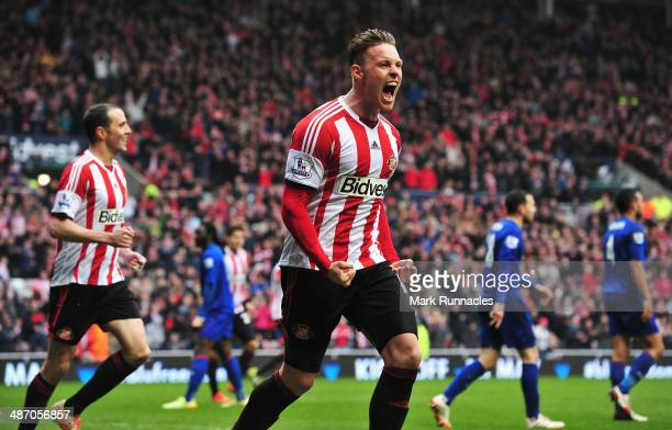 Connor Wickham of Sunderland celebrates scoring his second goal during the Barclays Premier League match between Sunderland and Cardiff City at the...