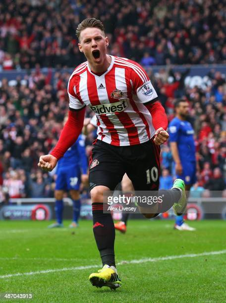 Connor Wickham of Sunderland celebrates scoring the opening goal during the Barclays Premier League match between Sunderland and Cardiff City at the...