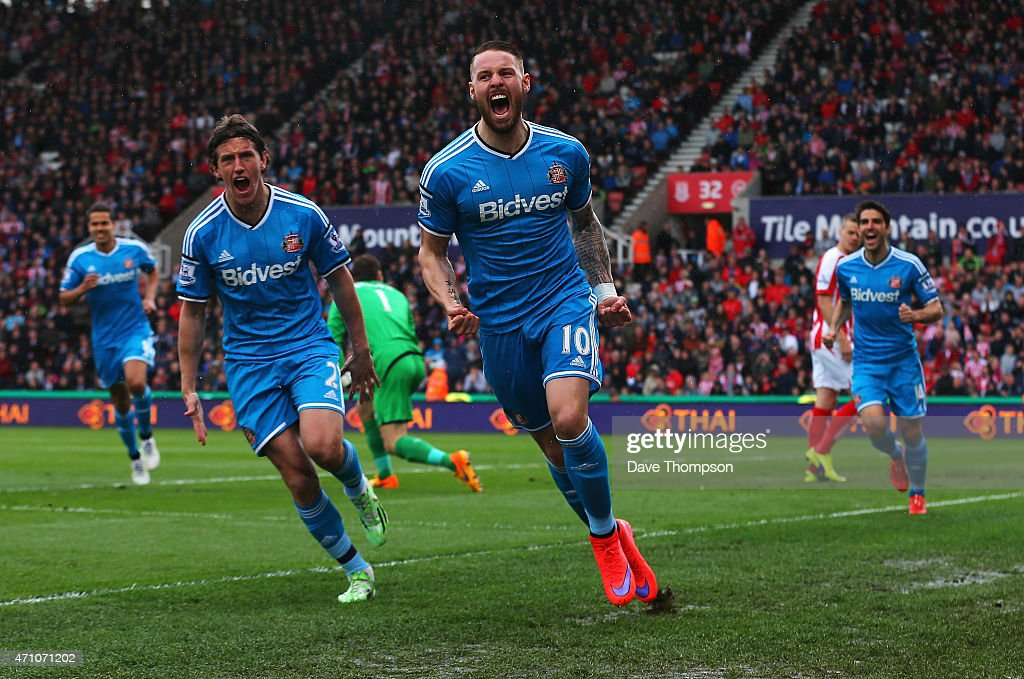 Connor Wickham of Sunderland celebrates scoring the opening goal with Billy Jones of Sunderland during the Barclays Premier League match between...