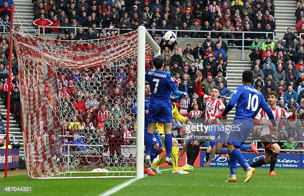 Connor Wickham of Sunderland scores the opening goal during the Barclays Premier League match between Sunderland and Cardiff City at The Stadium of...