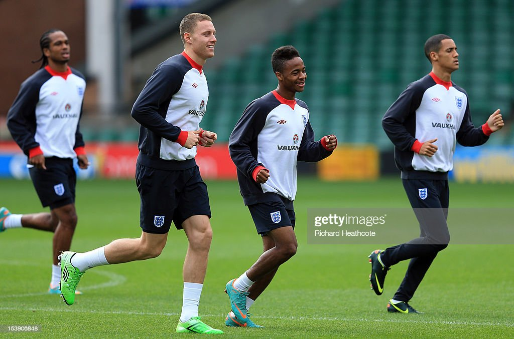 Connor Wickham, Raheem Sterling and Tom Ince in action during the England U21 training session at Carrow Road on October 11, 2012 in Norwich, England. England's U21 team will play Serbia U21 in the first leg of the U21 European Championship play-off's at Carrow Road tomorrow night.