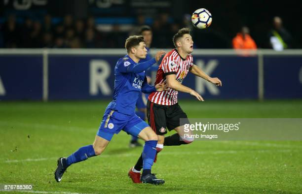 Connor Wood of Leicester City in action during Andrew Nelson of Sunderland the Premier League 2 match between Leicester City and Sunderland at Holmes...