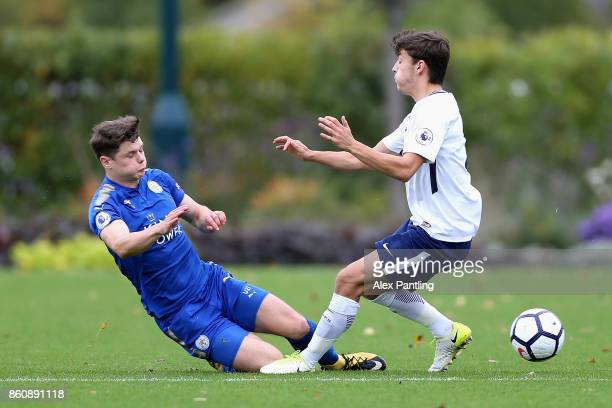 Connor Wood of Leicester City tackles George Marsh of Tottenham Hotspur during the Premier League 2 match between Tottenham Hotspur and Leicester...