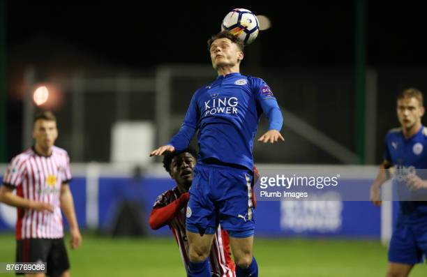 Connor Wood of Leicester City wins a header during the Premier League 2 match between Leicester City and Sunderland at Holmes Park on November 20th...