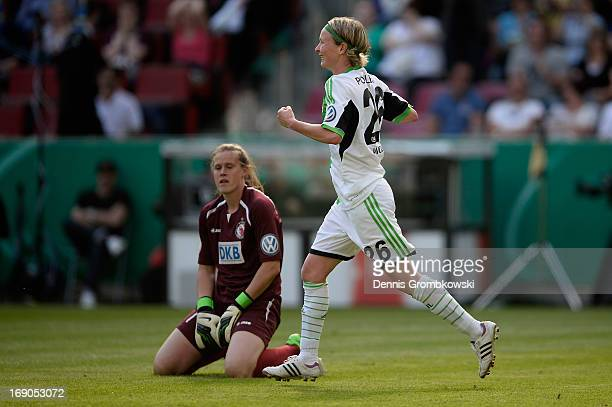 Conny Pohlers of Wolfsburg celebrates after scoring his team's third goal during the Women's DFB Cup Final between VfL Wolfsburg and 1 FFC Turbine...