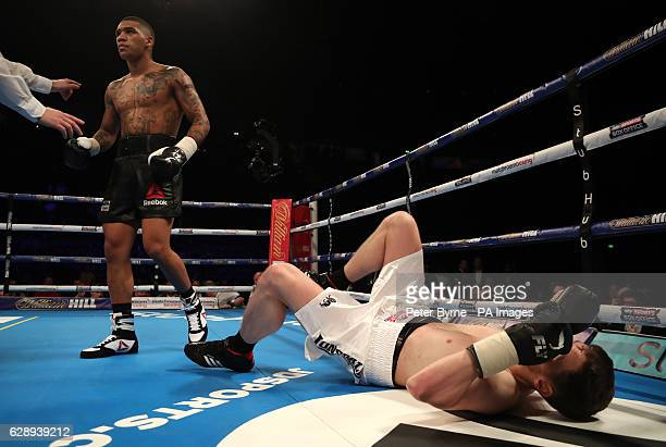 Conor Benn after knocking down Steve Backhouse during their Welterweight bout at the Manchester Arena