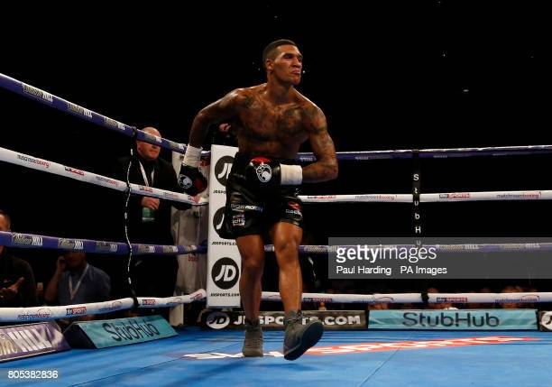 Conor Benn celebrates after defeating Mike Cole in the Welterweight contest at the O2 Arena London