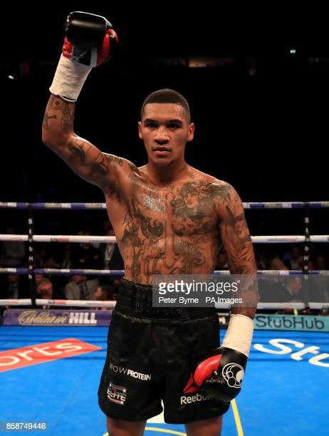 Conor Benn celebrates beating Nathan Clarke during their Welterweight contest at Manchester Arena
