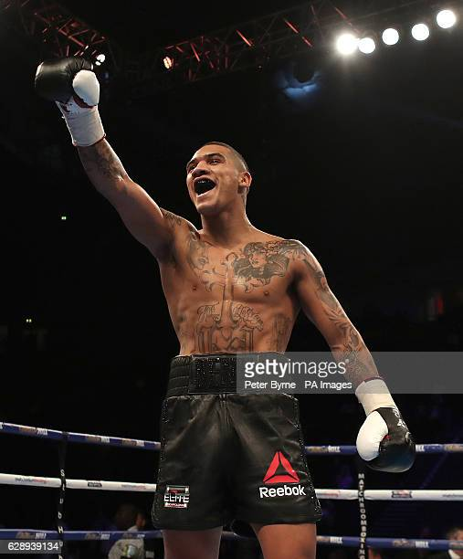 Conor Benn celebrates beating Steve Backhouse during their Welterweight bout at the Manchester Arena