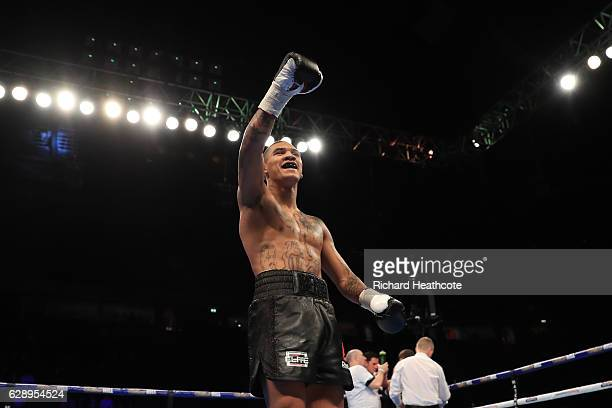 Conor Benn celebrates beating Steve Backouse in a Welterweight contest at Manchester Arena on December 10 2016 in Manchester England