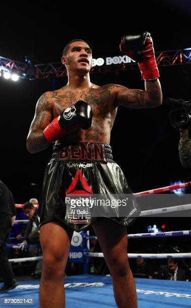 Conor Benn celebrates his second round knockout against Brandon Sanudo during their Junior middleweight bout at Nassau Veterans Memorial Coliseum on...