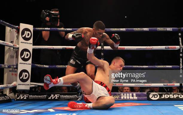 Conor Benn in action against Nathan Clarke during their Welterweight contest at Manchester Arena