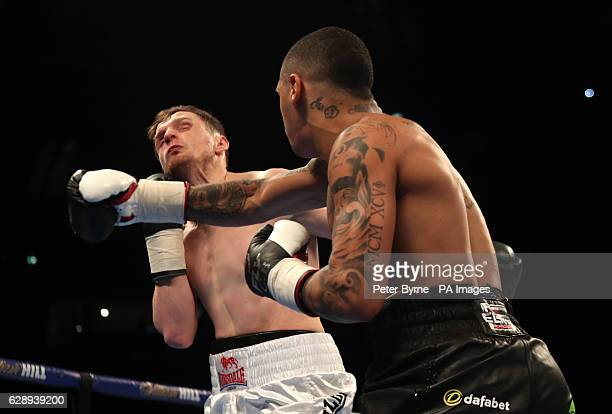 Conor Benn in action against Steve Backhouse during their Welterweight bout at the Manchester Arena