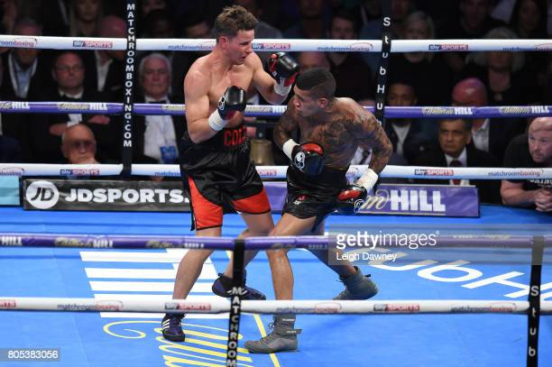 Conor Benn in boxing action with Mike Cole during a Welterweight contest at The O2 Arena on July 1 2017 in London England