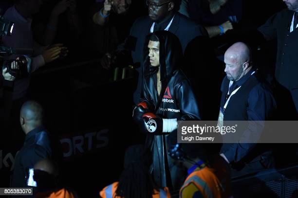 Conor Benn makes his ring walk ahead of his bout with Mike Cole at The O2 Arena on July 1 2017 in London England