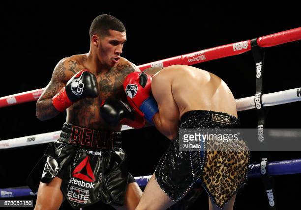 Conor Benn punches Brandon Sanudo during their Junior middleweight bout at Nassau Veterans Memorial Coliseum on November 11 2017 in Uniondale New York
