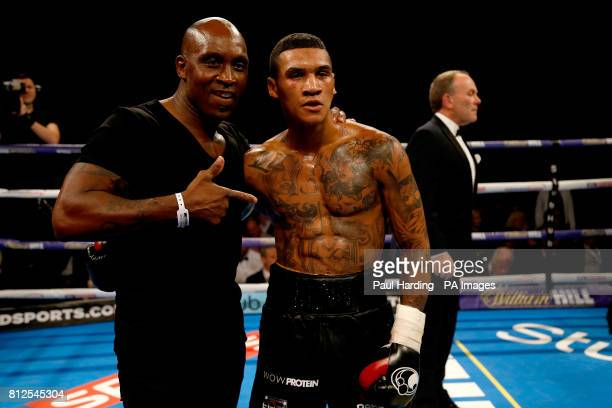 Conor Benn with his father Nigel Benn after beating Mike Cole
