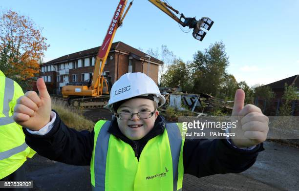 Conor Canning a year eight pupil at Arvalee School and Resource Centre giving the thumbs up to the start of demolition at the former Army base at...