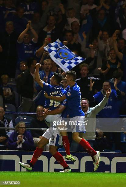 Conor Chaplin of Portsmouth celebrates scoring a goal during the Capital One Cup First Round match between Portsmouth v Derby County at Fratton Park...