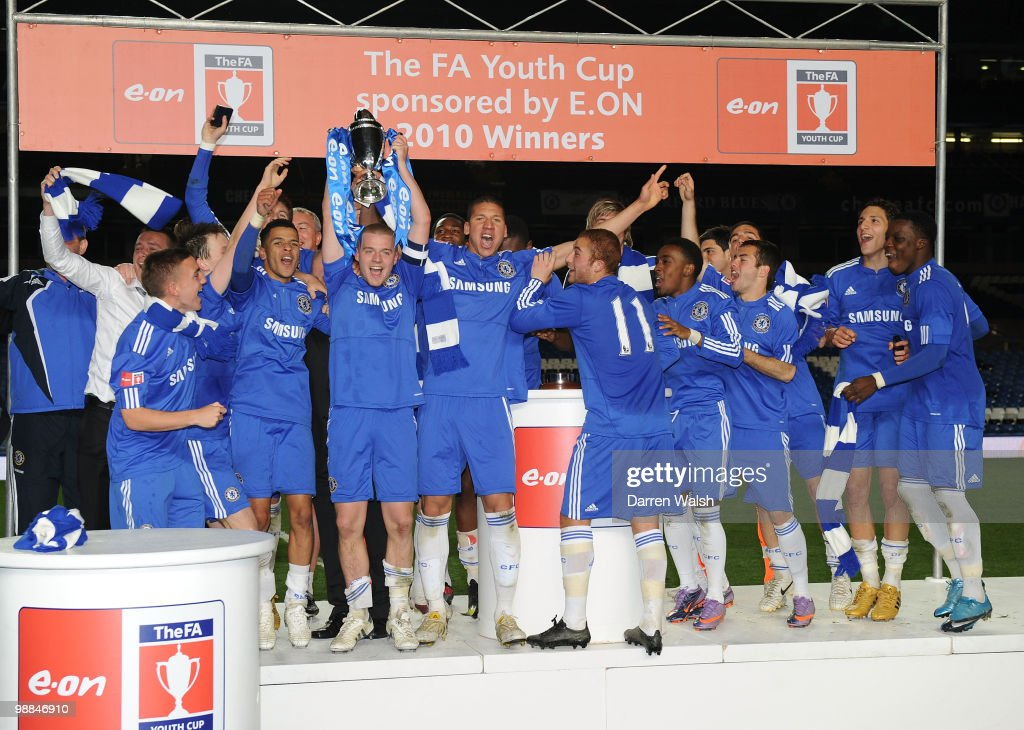 Conor Clifford of Chelsea youth lifts the Youth Cup during the FA Youth Cup Final 2nd leg match between Chelsea Youth and Aston Villa Youth at...