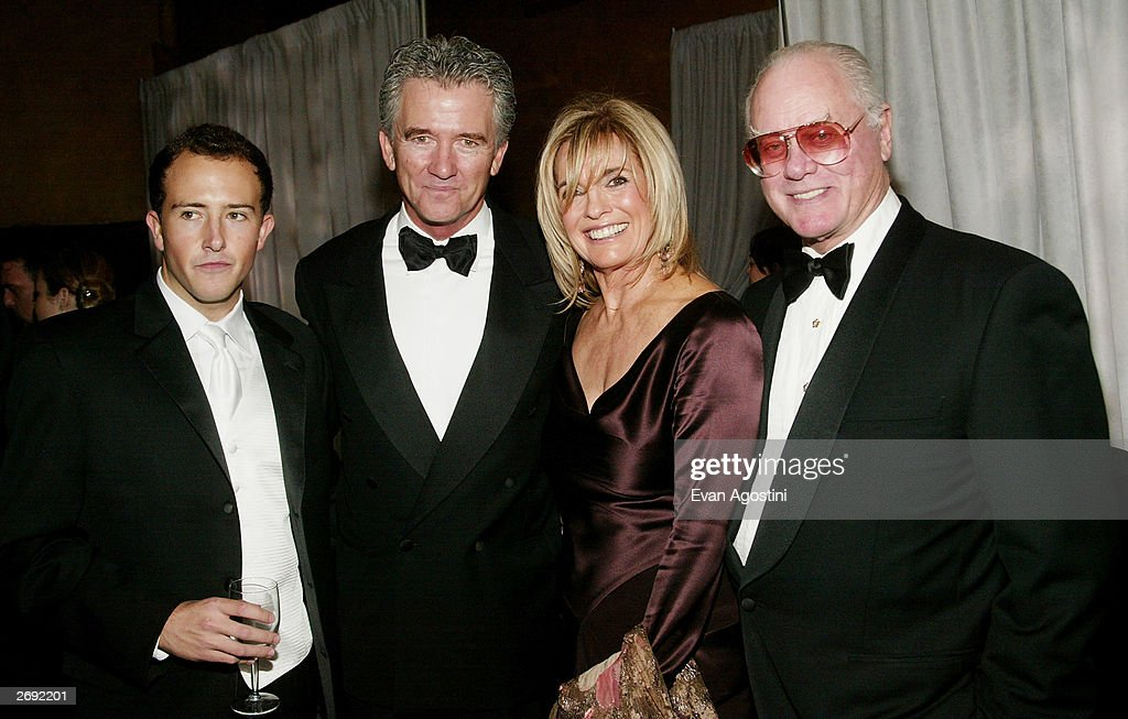 Conor Duffy, Patrick Duffy, Linda Gray and Larry Hagman attend the cocktail party for the 'CBS at 75' television gala at the Hammerstein Ballroom November 2, 2003 in New York City.