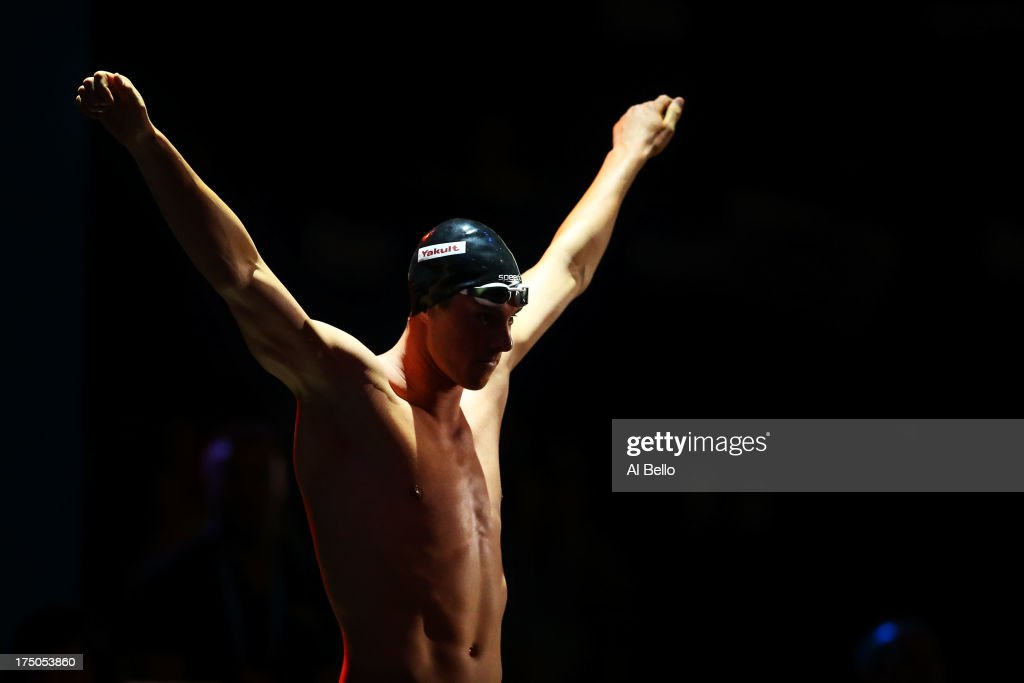 <a gi-track='captionPersonalityLinkClicked' href=/galleries/search?phrase=Conor+Dwyer&family=editorial&specificpeople=7988001 ng-click='$event.stopPropagation()'>Conor Dwyer</a> of the USA prepares for the Swimming Men's 200m Freestyle Final on day eleven of the 15th FINA World Championships at Palau Sant Jordi on July 30, 2013 in Barcelona, Spain.