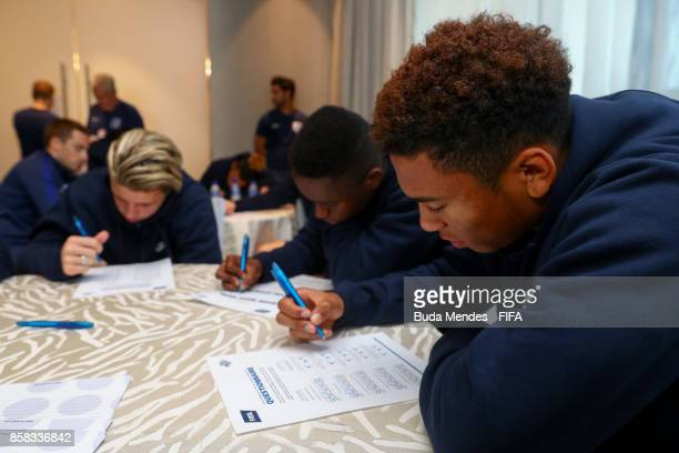 Conor Gallagher Steven Sessegnon and Danny Loader of England attend a FIFA Ethics Workshop ahead of the FIFA U17 World Cup India 2017 tournament at...