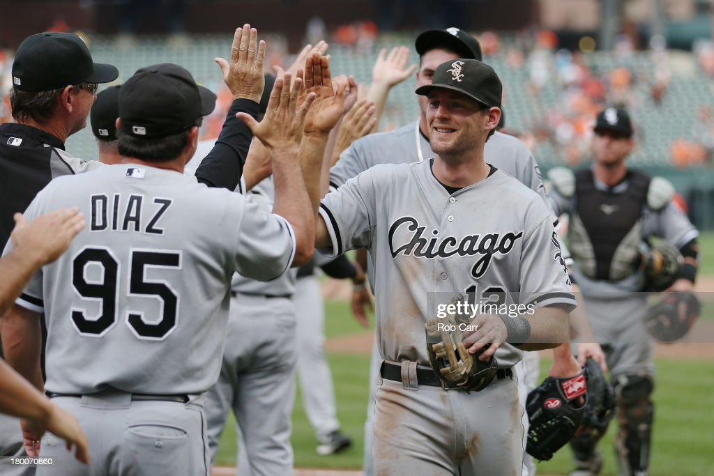 <a gi-track='captionPersonalityLinkClicked' href=/galleries/search?phrase=Conor+Gillaspie&family=editorial&specificpeople=5115369 ng-click='$event.stopPropagation()'>Conor Gillaspie</a> #12 of the Chicago White Sox celebrates after the White Sox defeated the Baltimore Orioles 4-2 at Oriole Park at Camden Yards on September 8, 2013 in Baltimore, Maryland.