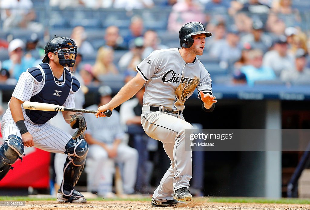 Conor Gillaspie #12 of the Chicago White Sox follows through on a sixth inning two run home run against the New York Yankees at Yankee Stadium on August 24, 2014 in the Bronx borough of New York City.