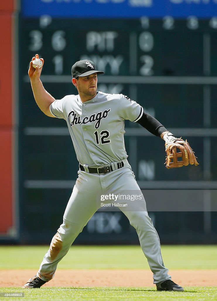 <a gi-track='captionPersonalityLinkClicked' href=/galleries/search?phrase=Conor+Gillaspie&family=editorial&specificpeople=5115369 ng-click='$event.stopPropagation()'>Conor Gillaspie</a> #12 of the Chicago White Sox makes a play in the infield during their game against the Houston Astros at Minute Maid Park on May 17, 2014 in Houston, Texas.