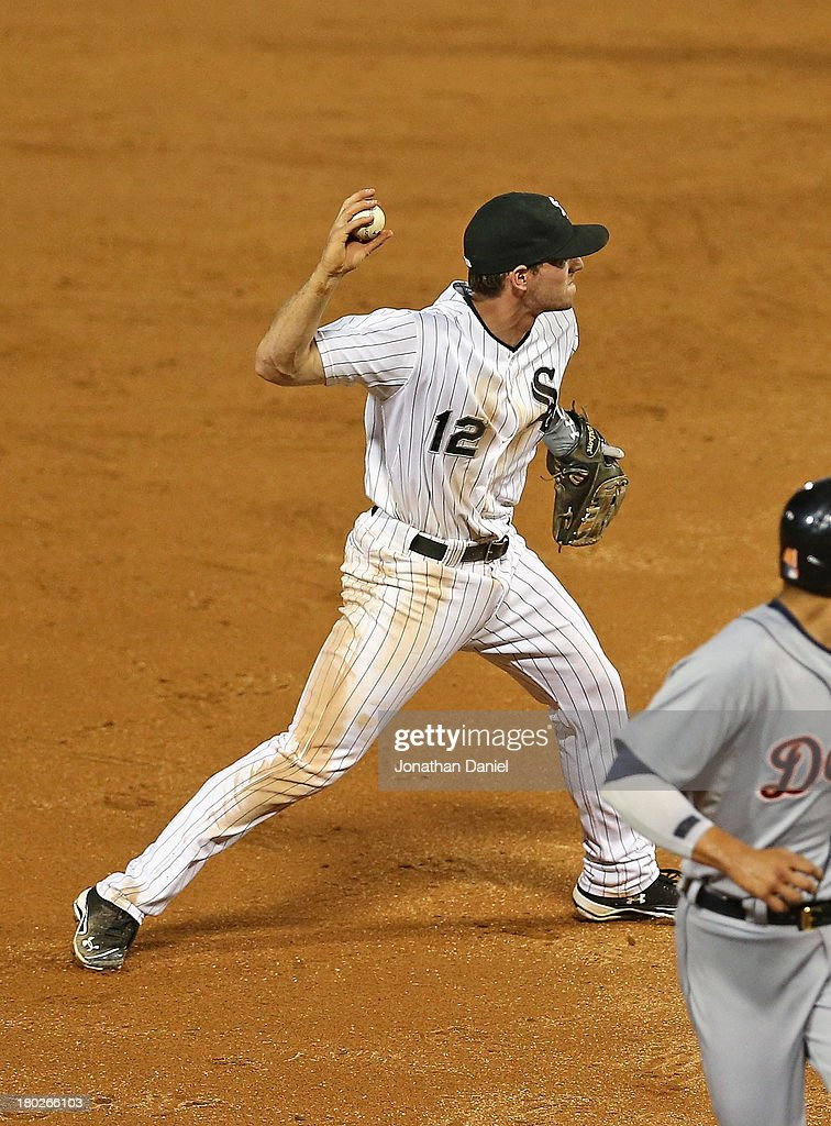 <a gi-track='captionPersonalityLinkClicked' href=/galleries/search?phrase=Conor+Gillaspie&family=editorial&specificpeople=5115369 ng-click='$event.stopPropagation()'>Conor Gillaspie</a> #12 of the Chicago White Sox makes his first throwing error of the game in the 1st inning against the Detroit Tigers at U.S. Cellular Field on September 10, 2013 in Chicago, Illinois.