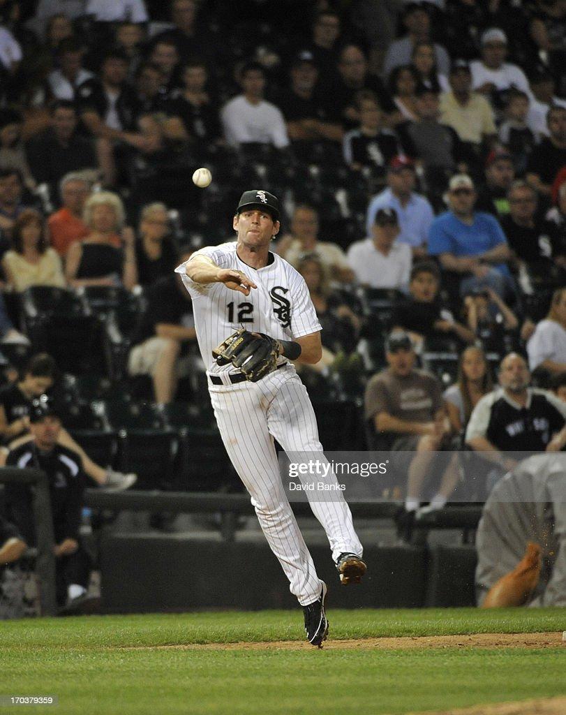 Conor Gillaspie #12 of the Chicago White Sox plays against the Toronto Blue Jays on June 11, 2013 at U.S. Cellular Field in Chicago, Illinois.
