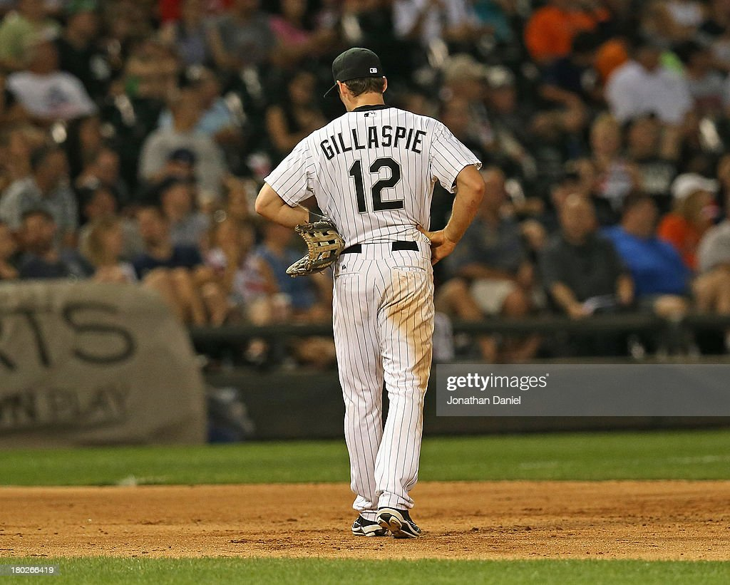<a gi-track='captionPersonalityLinkClicked' href=/galleries/search?phrase=Conor+Gillaspie&family=editorial&specificpeople=5115369 ng-click='$event.stopPropagation()'>Conor Gillaspie</a> #12 of the Chicago White Sox reacts after making his third error of the game against the Detroit Tigers at U.S. Cellular Field on September 10, 2013 in Chicago, Illinois.