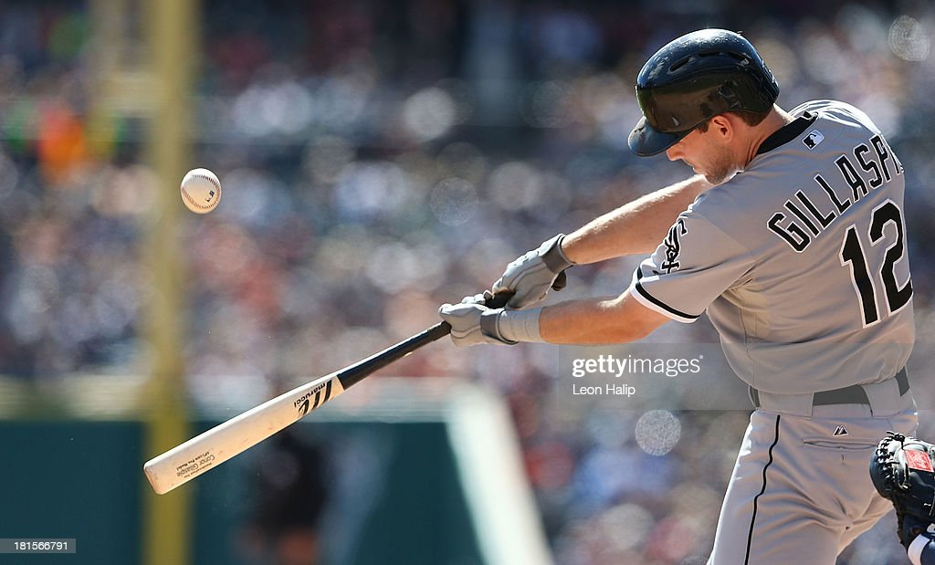 <a gi-track='captionPersonalityLinkClicked' href=/galleries/search?phrase=Conor+Gillaspie&family=editorial&specificpeople=5115369 ng-click='$event.stopPropagation()'>Conor Gillaspie</a> #12 of the Chicago White Soxs bats in the third inning of the game against the Detroit Tigers at Comerica Park on September 22, 2013 in Detroit, Michigan.